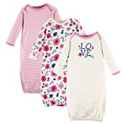 Touched by Nature Baby Organic Cotton Gowns, Floral 3-Pack, 0-6 Months