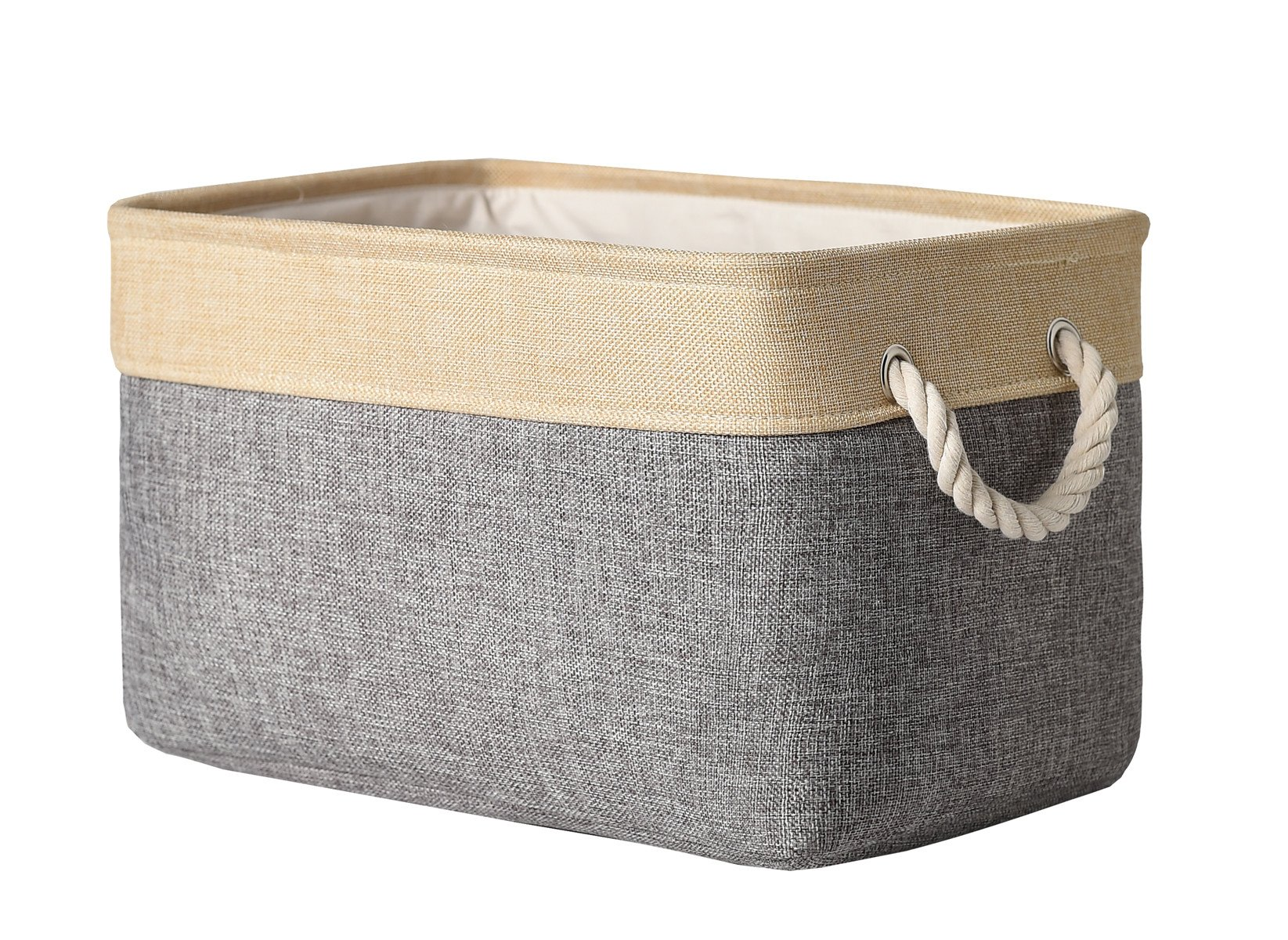 TheWarmHome Decorative Basket Rectangular Fabric Storage Bin Organizer Basket with Handles for Clothes Storage (Grey Patchwork, 15.7L×11.8W×8.3H)