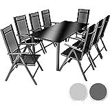 TecTake Aluminio conjunto muebles para jardin 8+1 silla adjustable mesa cristal terraza - disponible en diferentes colores - (Gris oscuro | No. 402164)