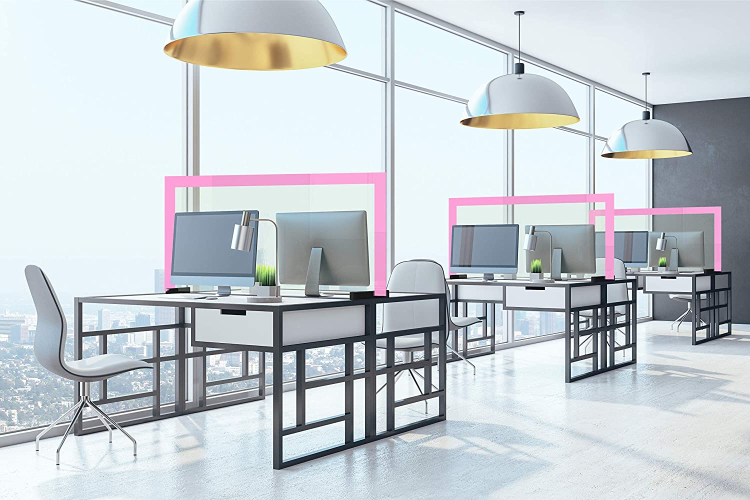 coworking Spaces counters Anti-Contagion Separator for desks in Schools Protection Barrier - Protection screenwith Steel Edges Offices etc