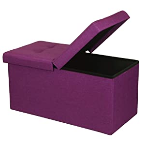 """Otto & Ben 30"""" Storage Ottoman - Folding Toy Box Chest with SMART LIFT Top, Upholstered Tufted Ottomans Bench Foot Rest for Bedroom, Orchid Purple"""