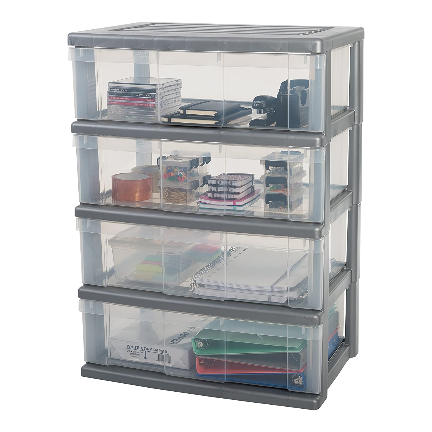 IRIS WC-N603Wide Large Chest Storage Unit on Wheels with 3Drawers 60x 41x 63cm Plastic Silver/Clear Irisw Ohyama 139104