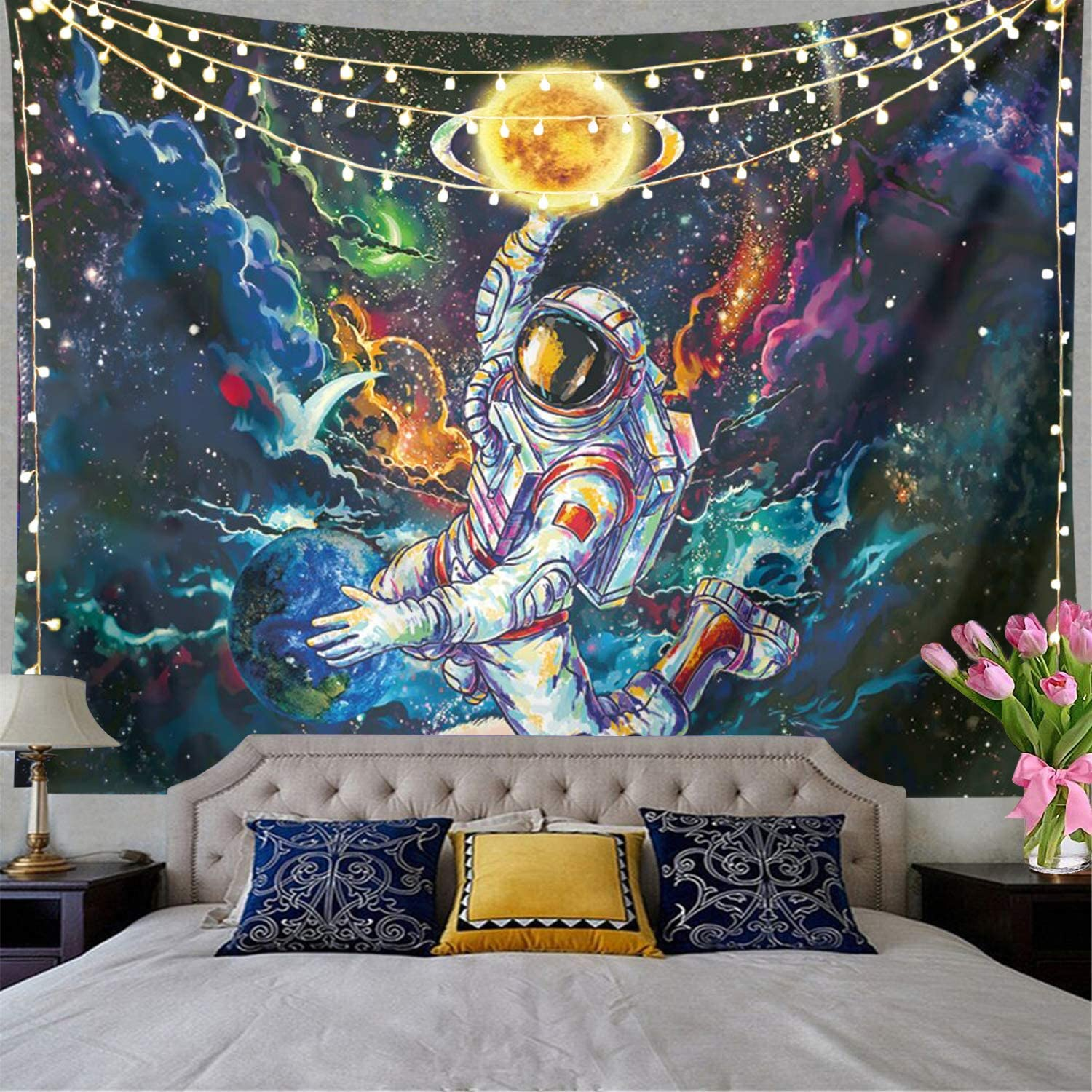 Trippy Astronaut Tapestry Galaxy Space Tapestry Poster Psychedelic Tapestry Cool Spaceman On Fantasy Universe Planets Starry Sky Tapestry Mens Guys Tapestry For Bedroom Cool Room Decor. (78