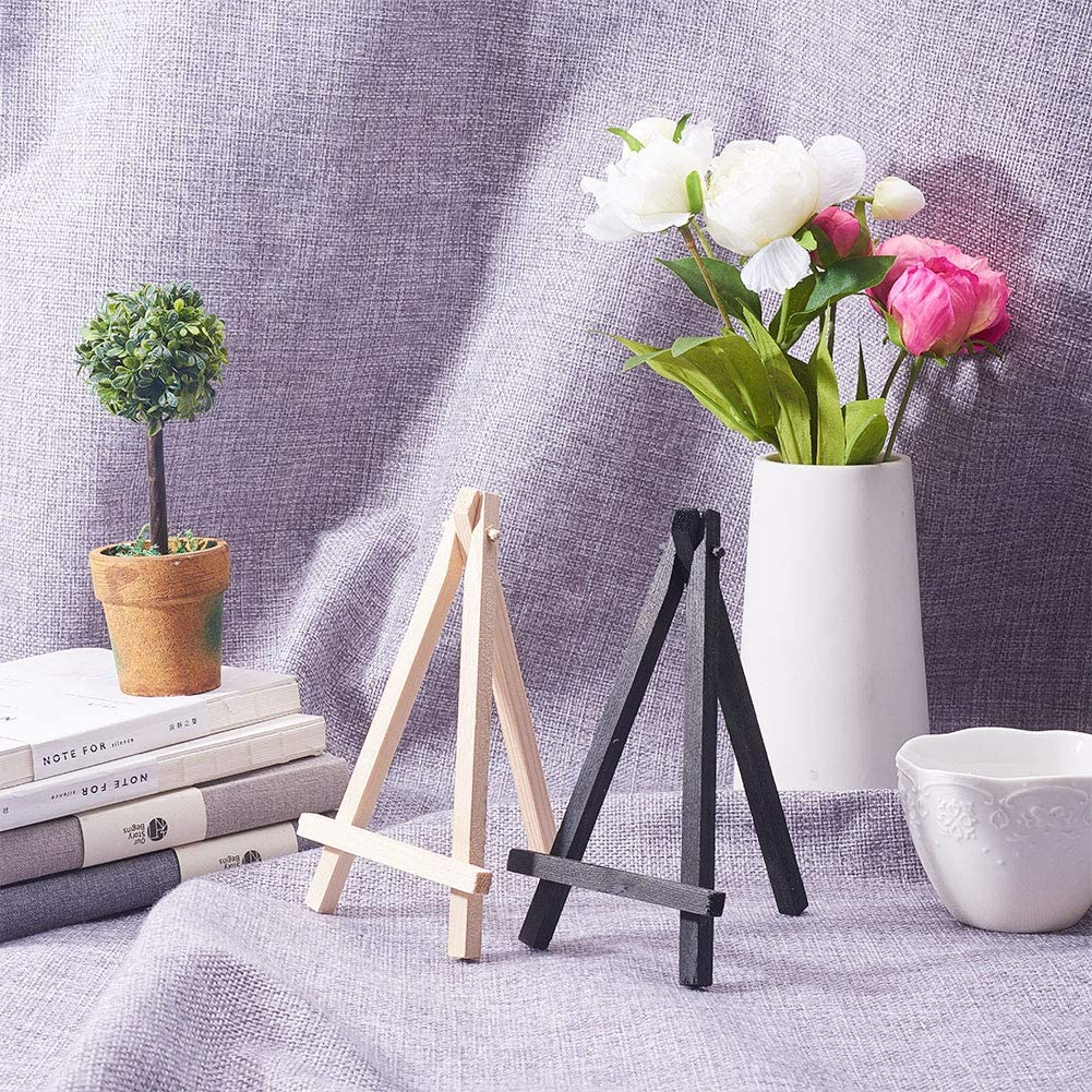 WANDIC Mini Chevalet Daffichage En Bois 15 Pcs Art De Table Noir Chevalet Peinture Chevalets pour Enfants Artiste Artiste /Étudiants En Classe Affichage