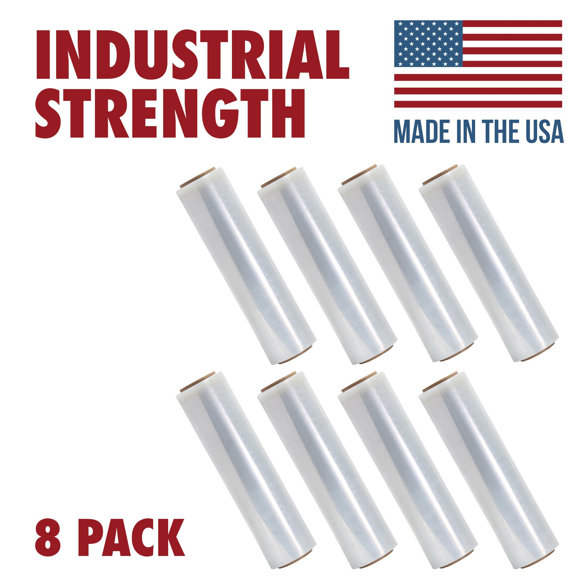 Tough Pallet Shrink Wrap, 80 Gauge 18 Inch X 1000 feet Industrial Strength, Commercial Grade Strength Film, Moving & Packing Wrap, For Furniture, Boxes, Pallets (8-Pack)
