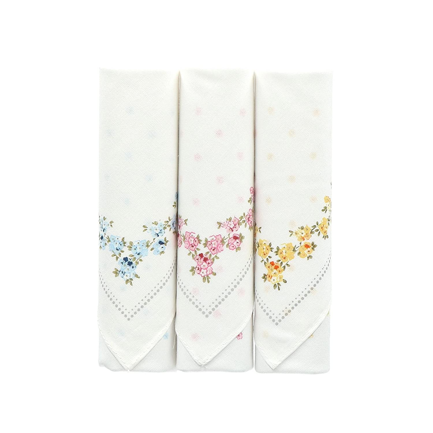 Selini Women's Floral Bundle Embroidered Cotton Handkerchiefs (Pack of 3), White