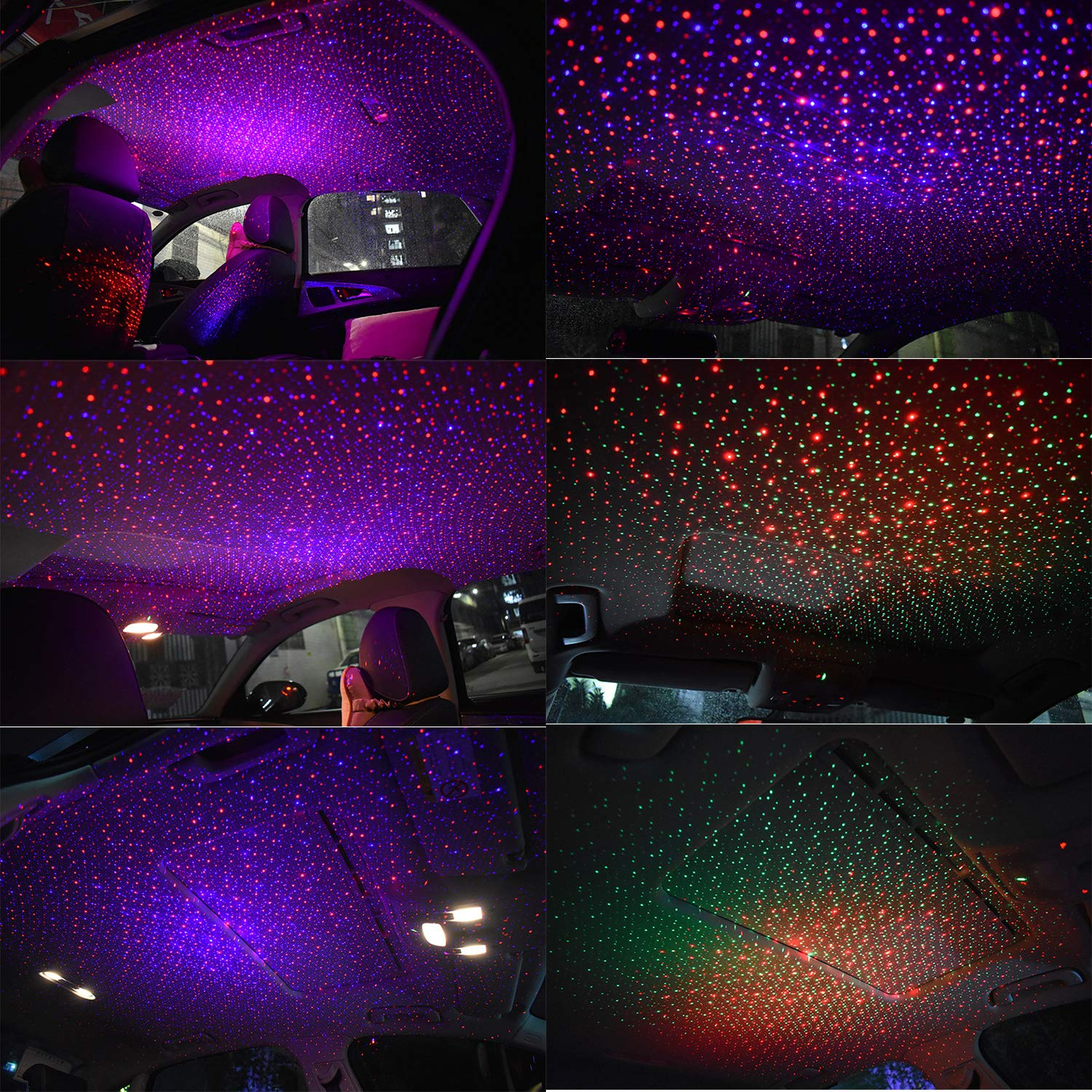FOLCONROAD Car Roof Star Night Lights Projector Auto Universal Led Ceiling Decoration Light Interior Atmosphere Lamp Replacement for Fiber Optic Light Color(Red and Blue Sky, 1 Pack)