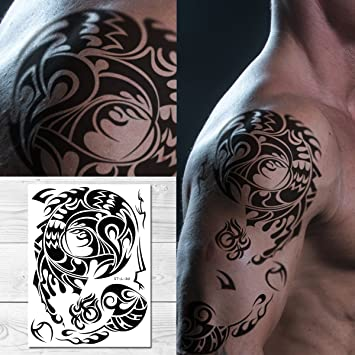 Amazoncom Supperb Tribal Temporary Tattoos Male Shoulder Tribal