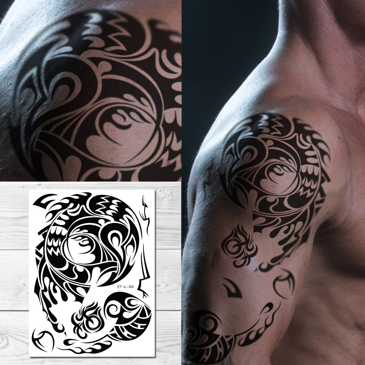Amazon.com : Supperb Tribal Temporary Tattoos - Male shoulder Tribal ...