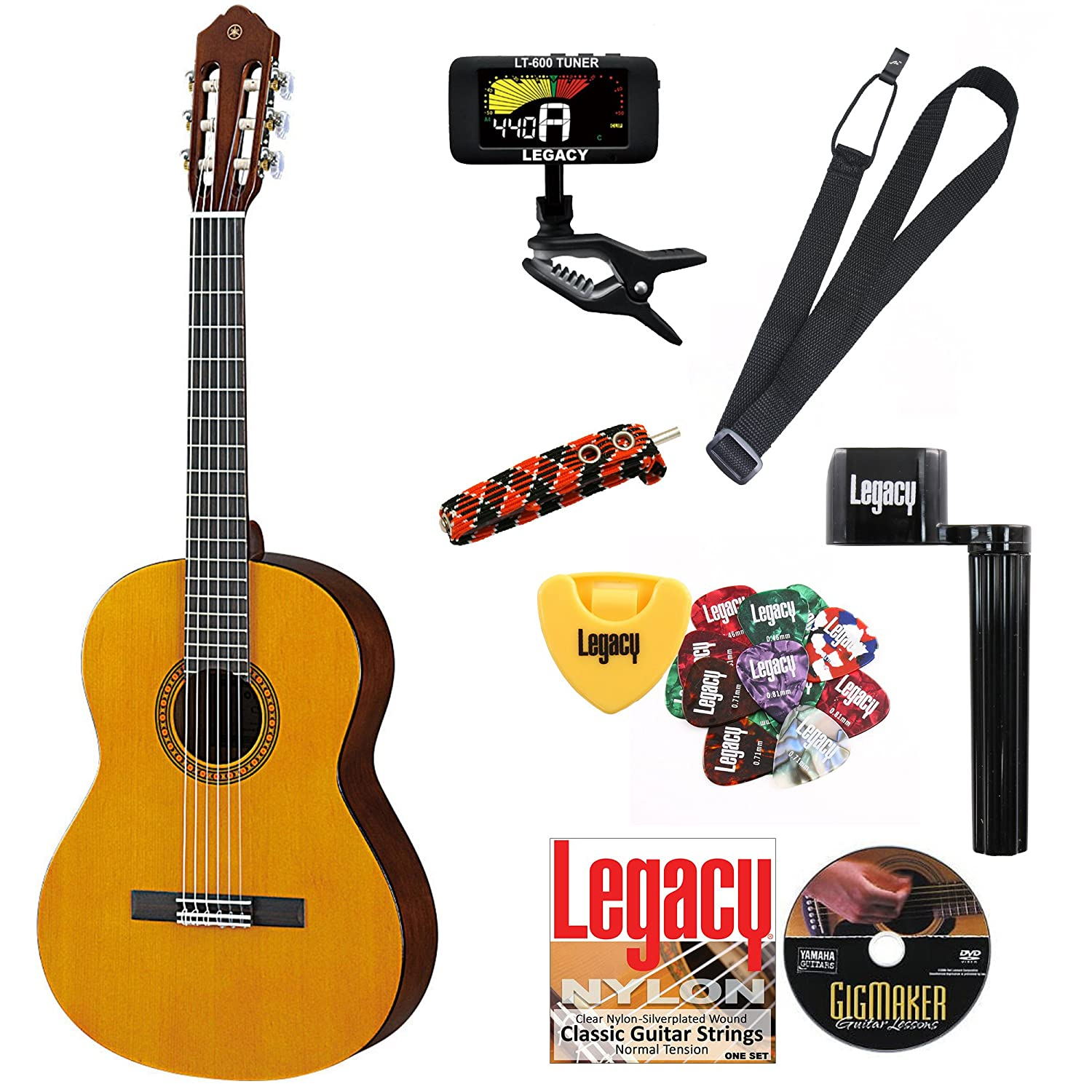 Amazon Yamaha CGS103AII 3 4 Size Classical Guitar Bundle w Legacy Kit Tuner Picks Capo and Much More Musical Instruments