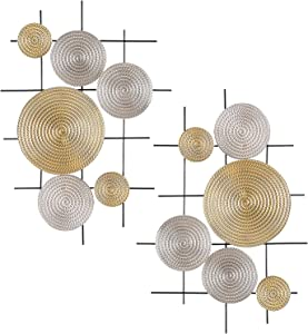 Metal Wall Art Modernist Iron Wall Decor Silver and Gold Modernist Floating Circles Crinkle Hand Cast Abstract Geometric Decoration for Porch,Room,Living Room, about 2.5FT Long, Set of 2
