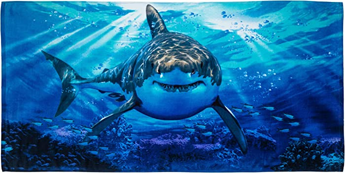 Dawhud Direct Super Soft Plush Cotton Beach Bath Pool Towel (Great White Shark)