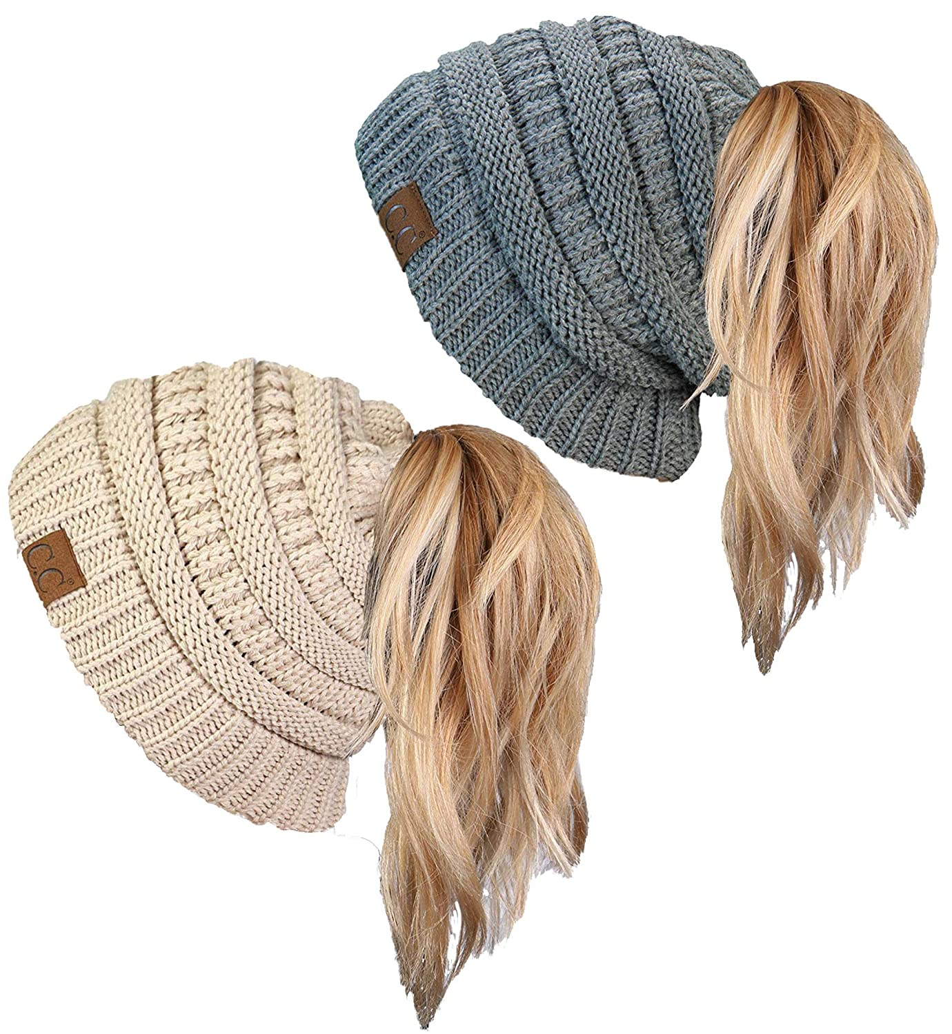 cf3878c0b69255 BT-6020a-2-0660 Solid Messy Bun Beanie Tail Bundle - 1 Black, 1 Beige (2  Pack) at Amazon Women's Clothing store: