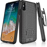 iPhone X Holster Case, WizGear Slim Shell Holster Combo Case for Apple iPhone X / iPhone 10 With Kick-Stand and Swivel Belt Clip - Black