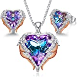 CDE Angel Wing Love Heart Necklaces and Earrings Silver Tone/Gold Tone Jewelry Sets Birthday/Anniversary Mother's Day Jewelry
