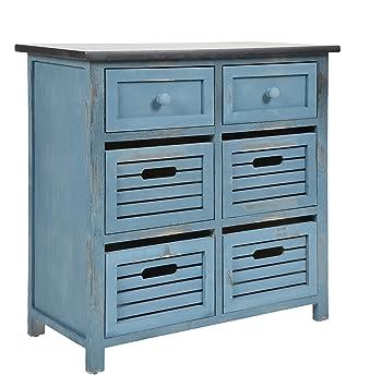 ts-ideen GmbH Credenza stile country cottage, look shabby consumato. In  colore blu, con 6 cassetti e ripiano superiore nero.