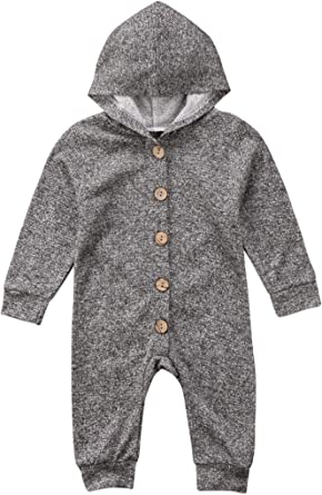 Urkutoba Solid Color Pure Gray One Piece Hoodie Long Sleeve Warm Hooded Shirt Jumpsuit 0-24M Cotton Hoodie Button Down Hoodie