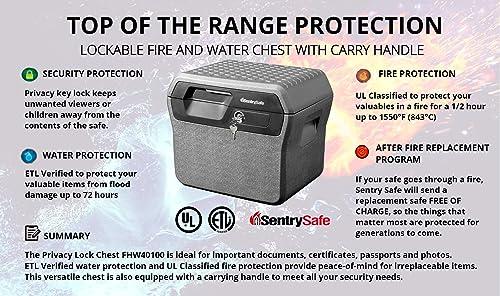SentrySafe FHW40100 Fireproof Waterproof Box with Key Lock, 0.66 cu. ft