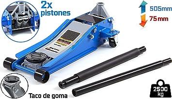 JOMAFA - GATO HIDRÁULICO CARRETILLA BAJO PERFIL EXTRA LARGO 2 TONELADAS CON TACO DE GOMA: Amazon.es: Bricolaje y herramientas