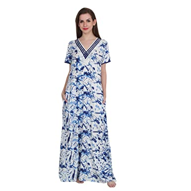 Patrorna Cotton Silk Blend Women s Lace Neckline A-Line Nighty Night Dress  in Blue Print 35be5da15