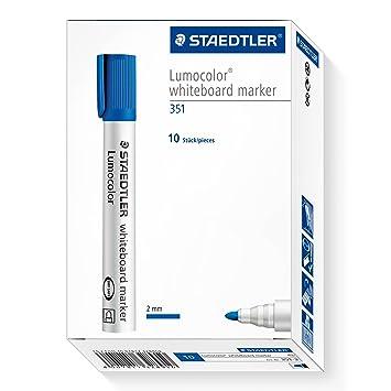STAEDTLER LumoColor 351-3. Rotuladores para pizarra blanca. Paquete de 10 unidades de color azul.