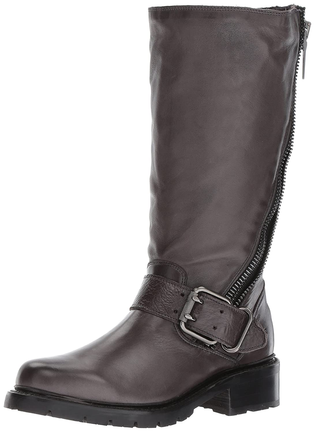 FRYE Women's Samantha Zip Tall Motorcycle Boot B01N1YPG6M 9 B(M) US|Charcoal Polished Soft Full Grain