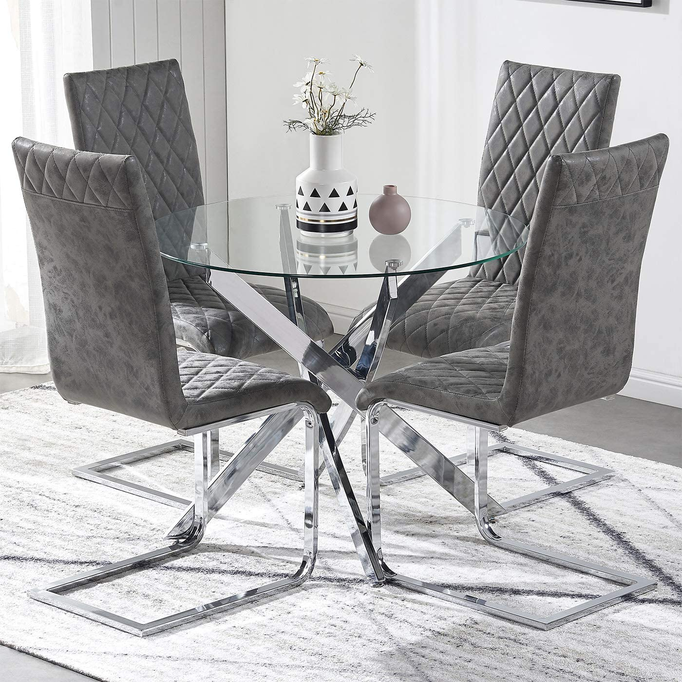 TONVISION Round Glass Dining Table and Charcoal Chairs Set 9 Solid ...