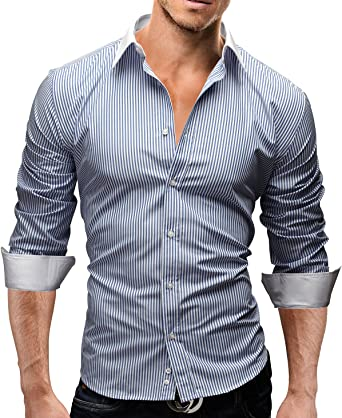 MERISH Camisas de Vestir Manga Larga diseño Rayas en Colores Diferentes Oficina, Ocio y Otras Ocasiones Modell 43 Azul Oscuro M: Amazon.es: Ropa y accesorios
