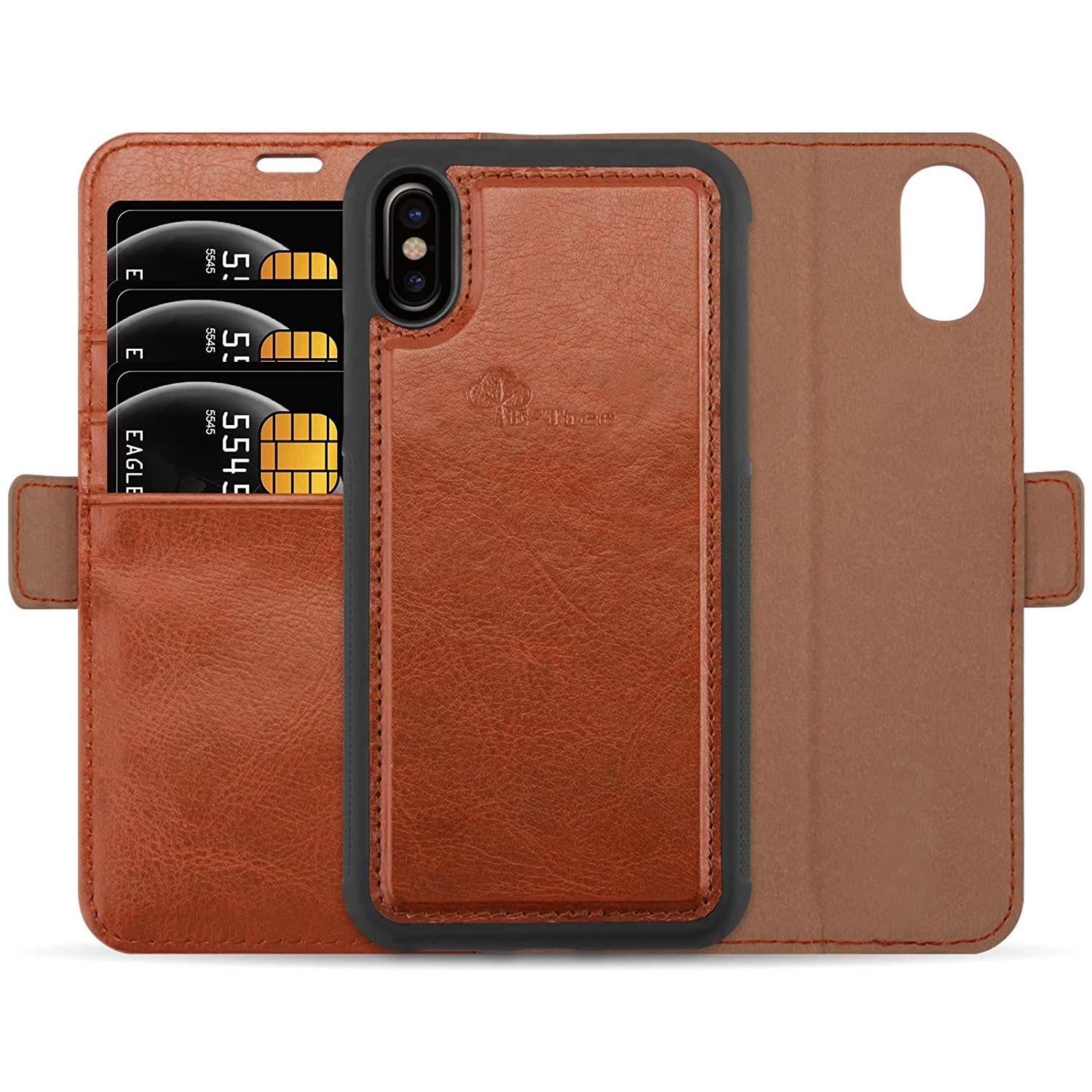 iPhone X Case, iPhone 10 Case, E-Tree Leather Detachable Wallet Case, RFID Blocking, Magnetic Flip Folio Card Slot Kickstand Stand Cover for 2017 Apple iPhone X Edition (5.8 inch) - Brown RFID_I7P_01