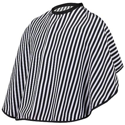 TRIXES Vestido Capa Ajustable para Hombros a Rayas Blancas y Negras para Peluqueros Barberos