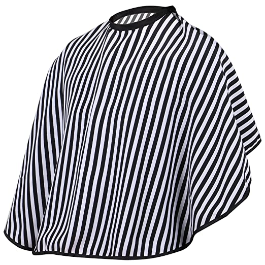 TRIXES Hair Cutting/Barbers Cape - Adjustable Black and White Stripe Hairdressing Gown - Short Length