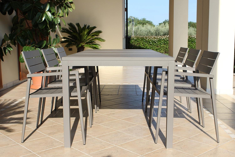 Tavolo da giardino alluminio mano mano for Arredo giardino alluminio