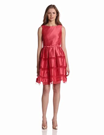Taylor Dresses Women's Organza Inset Fit And Flare, Coral, 2
