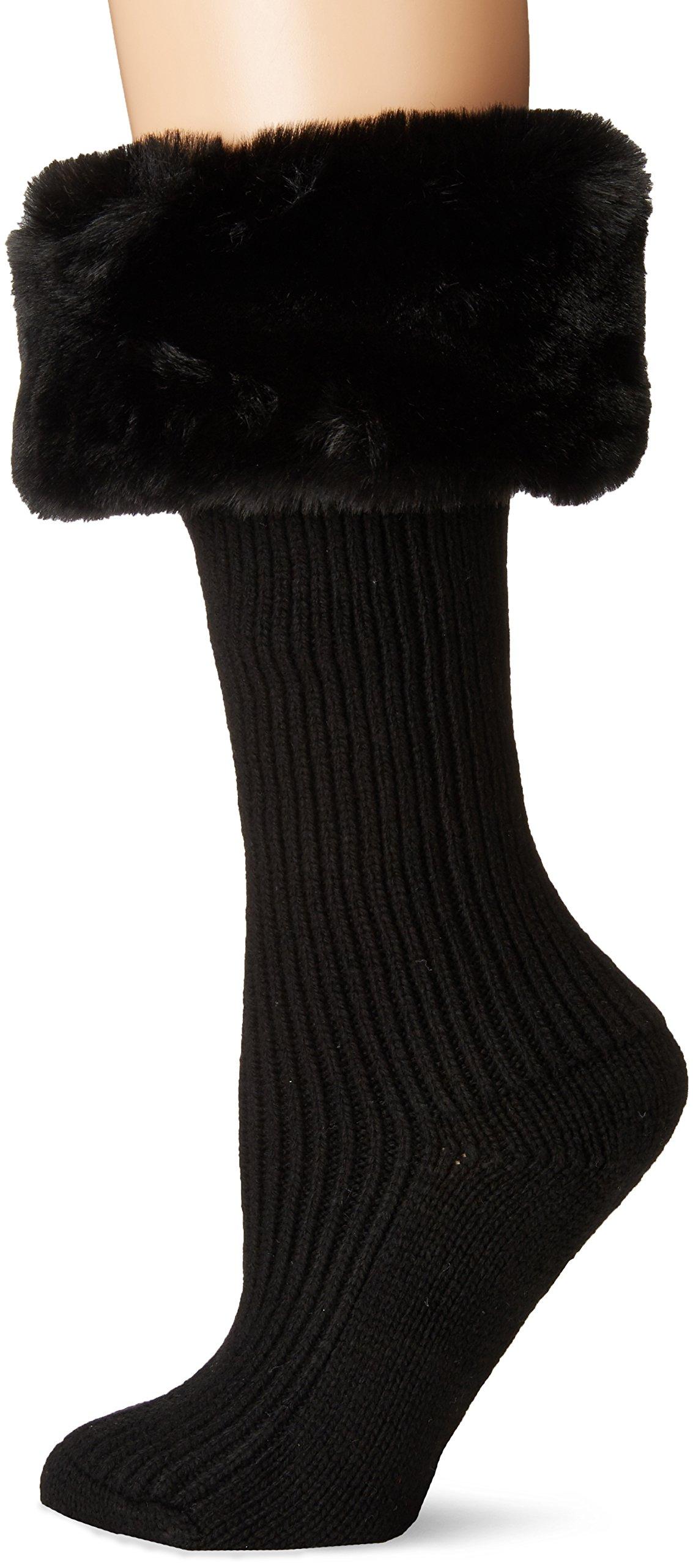 UGG Women's Faux Fur Cuff Tall Rainboot Sock, black O/S