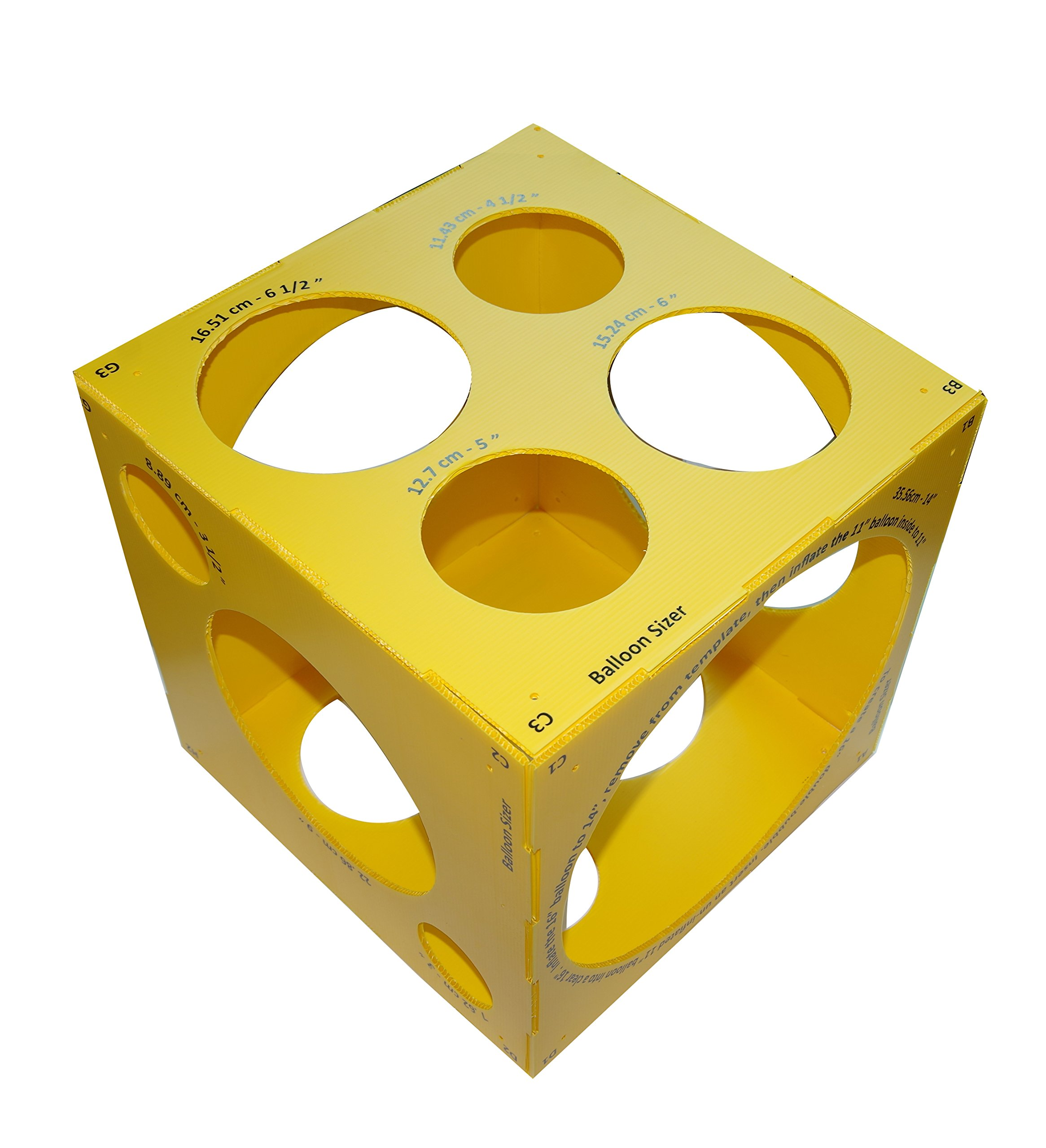 13 Holes Collapsible Plastic Cube Balloon Sizer Box From 3'' - 14'' by Jioong