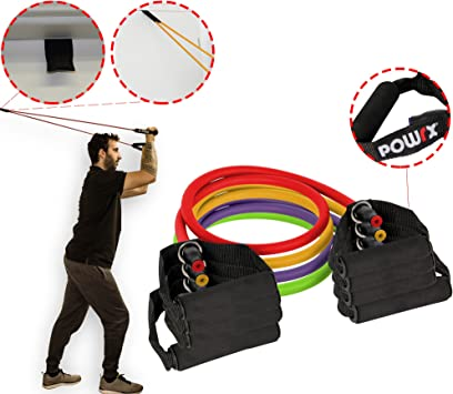 POWRX Tube Expander Professional F/ür Yoga Pilates Fitness Kraft Training Resistance Band mit Schaumstoffgriffen