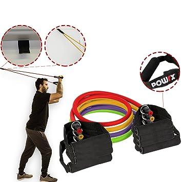 POWRX – Cuerdas elásticas de entrenamiento – Tube expander con mangos de espuma – Ideal para