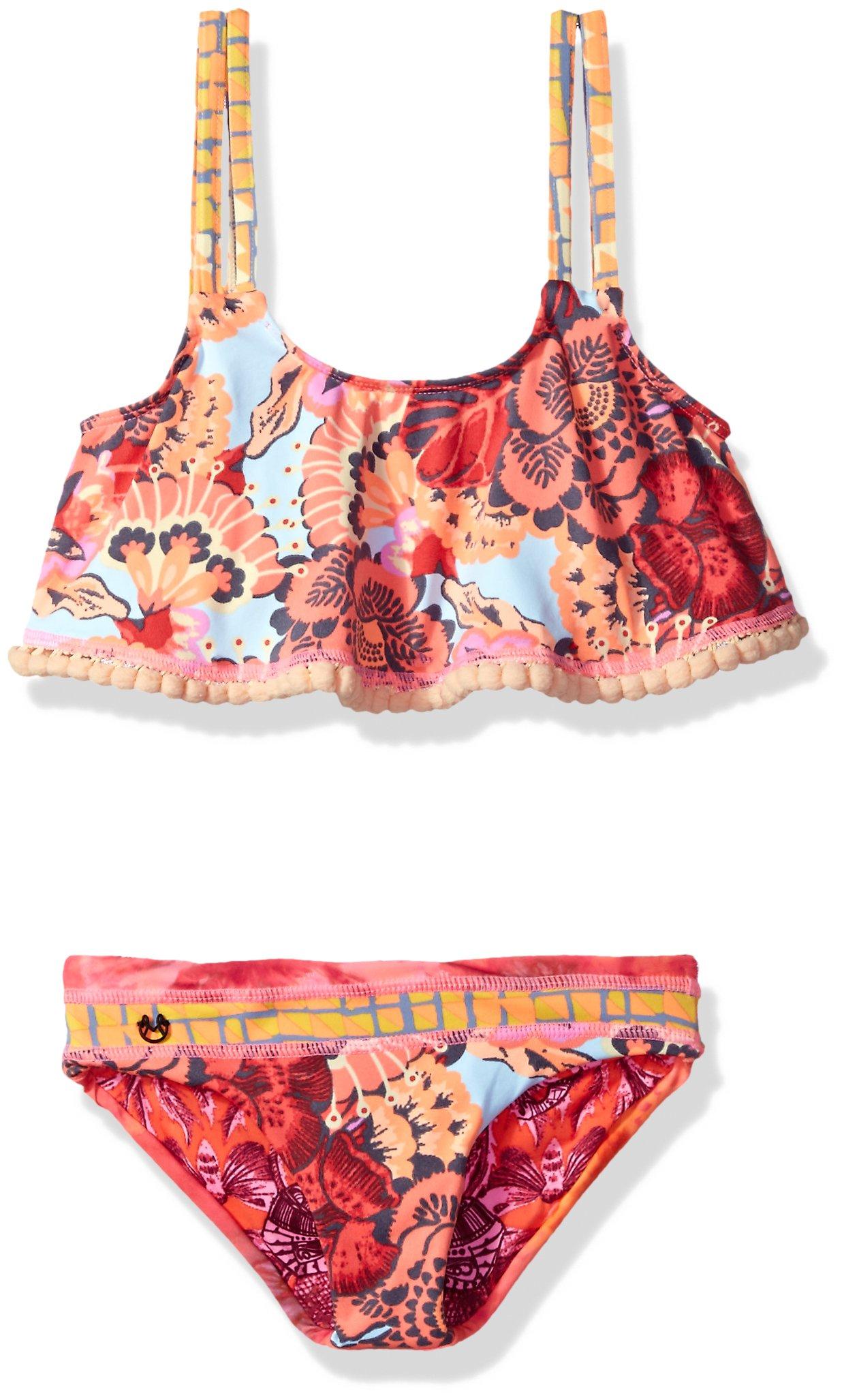 Maaji Little Girls' Mixed Print Flounce Top Bikini Swimsuit Set, Midnight Summer Multi, 4