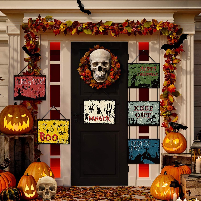 Halloween Decoration Beware Sign Yard Outdoor Halloween Banner Party Halloween Door Decor Sign Cardboard, 10 Pieces