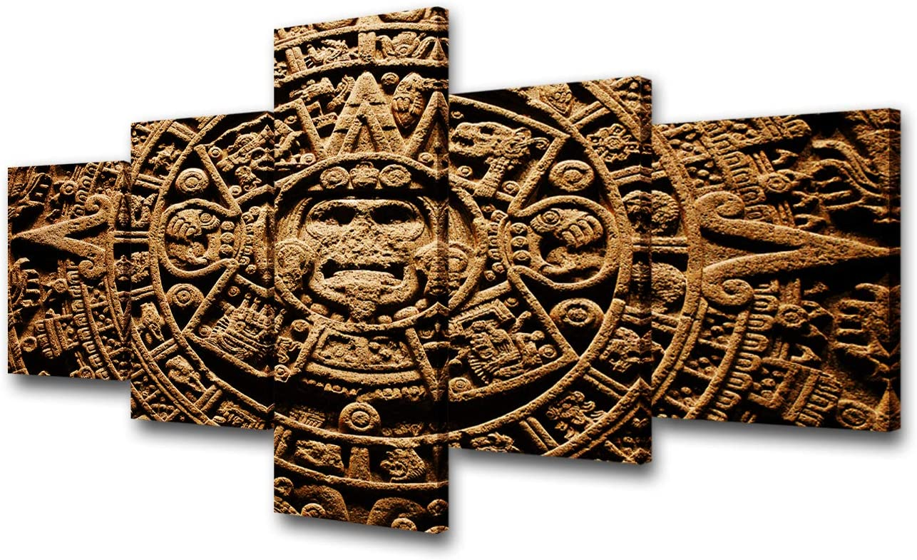 Mayan Wall Art for Living Room Aztec Sole Calendar Pictures Ancient Mexico Paintings 5 Panel Printed on Brown Canvas Contemporary Artwork House Decor Framed Gallery-Wrapped Ready to Hang(50'W x 24''H)