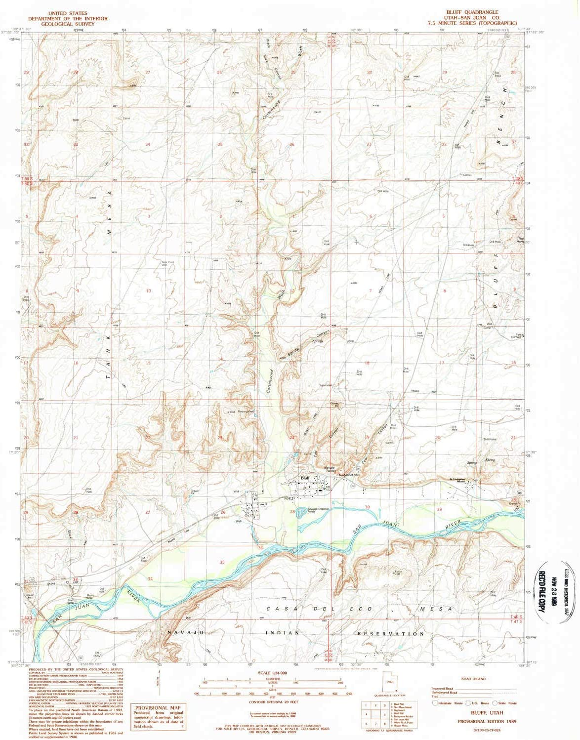 YellowMaps Bluff UT topo map, 1:24000 Scale, 7.5 X 7.5 Minute, Historical, 1989, Updated 1989, 26.8 x 22 in 81857x414xL