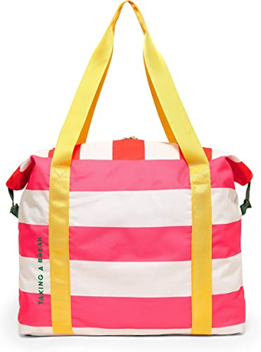 Ban.do Pink Yellow Getaway Weekender Bag, Carry On Bag with Exterior Sleeve to Secure to Luggage, Swim Club Stripe