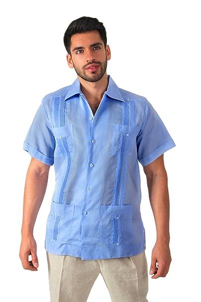 48e7c4eb3e Guayabera yucateca 100% lino irlandes color azul claro talla 36 manga larga