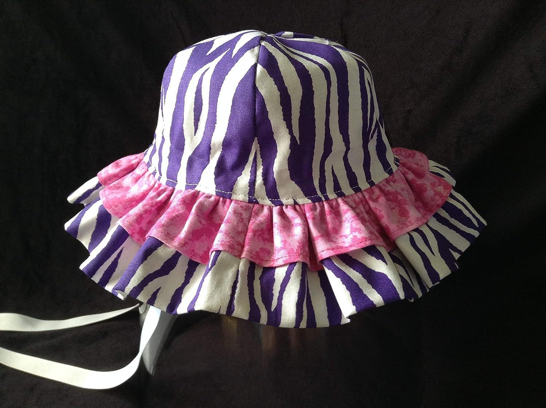 b59cb2ed7aa94c Amazon.com: BEACH HAT Baby Girl, Size 6-12 month Purple Zebra Hot Pink  Ruffled Sun Hat Sun Bonnet: Handmade