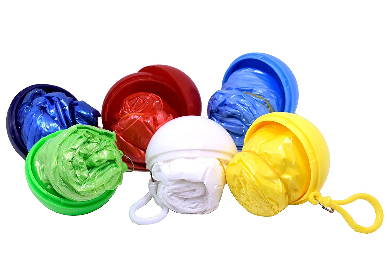 Poncho and Ball are Same Colors! TOOTO Pack of 6 Random Color Convenient Disposable Emergency Raincoats Portable Hook Poncho Ball For Outdoor Activities