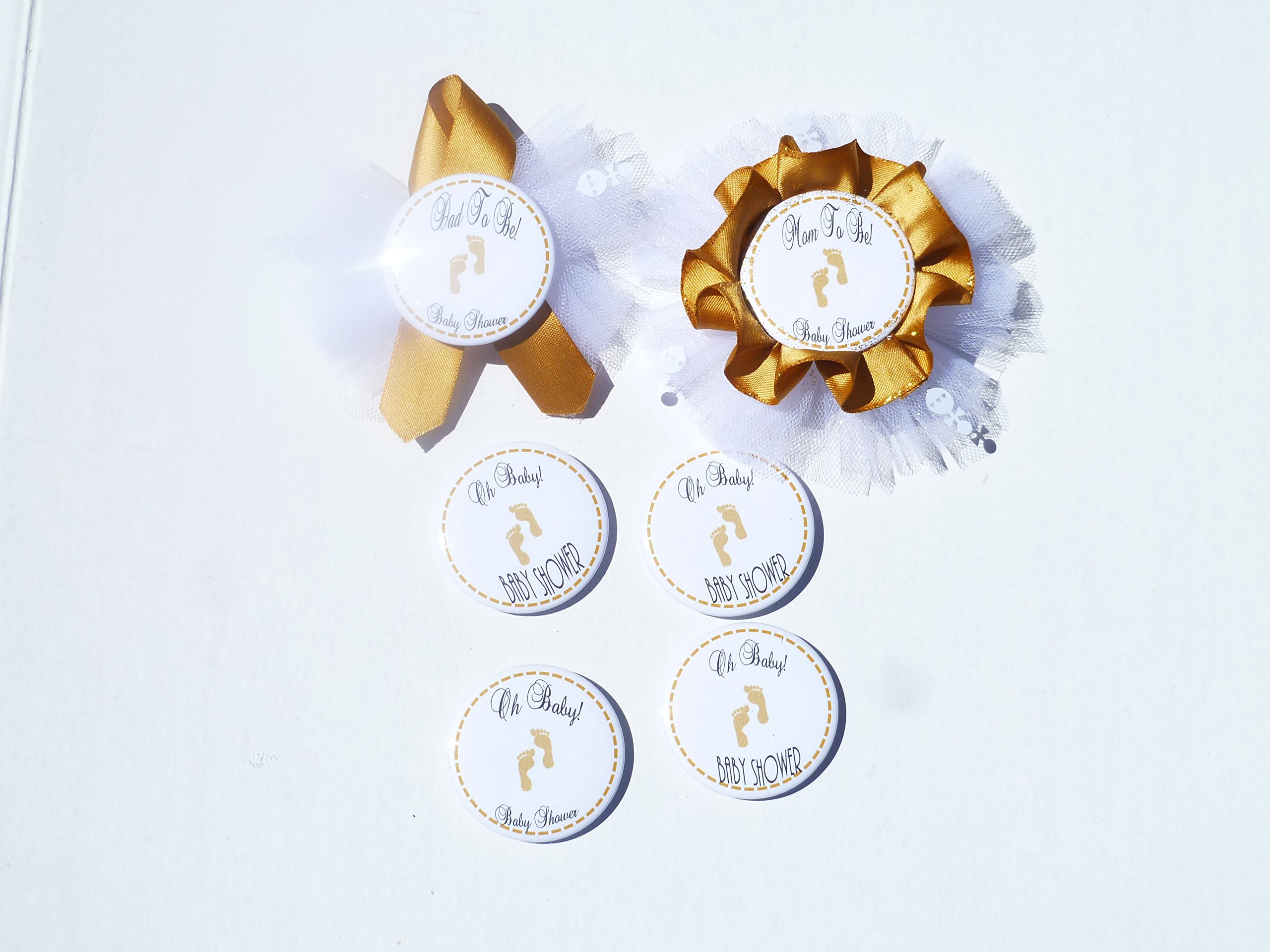 Gold Baby Feet Boy or Girl Baby Shower Themed Corsage for Mom and Dad To Be, Guest(Gold, White)