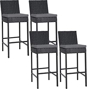 lafuria 4 Packs Wicker Barstools Outdoor Patio Rattan Furniture with 4 Cushions for Lawn Balcony Garden Black