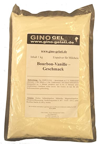 Bourbon Vanilla 1 Kg Gino Gelati Ice Cream Powder para leche Helado Soft Ice Powder Ice