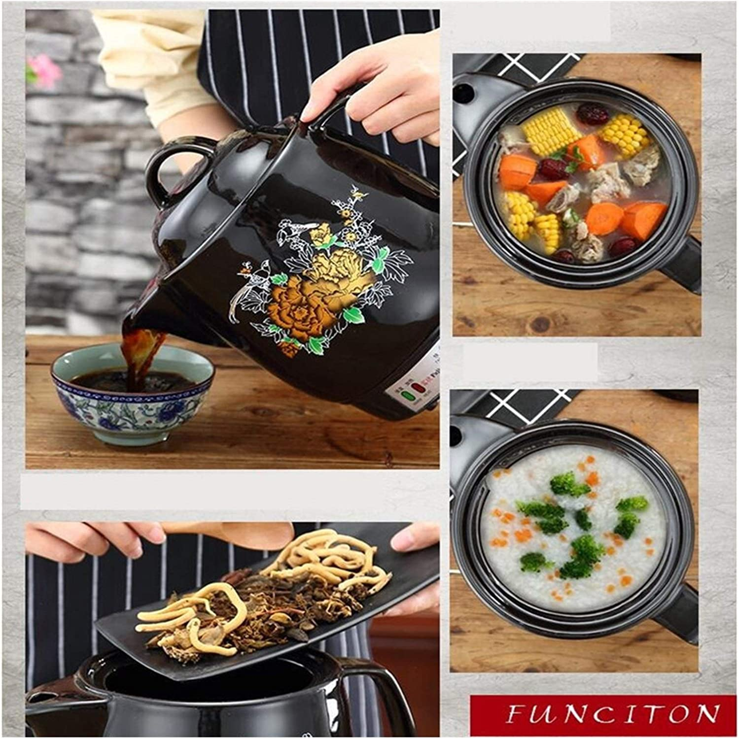 Hzdmfgs Kettle 220V Household Electric Kettle Automatic Chinese Medicine Stewing Kettle Pot eramic Decocting Herb Medicine Multi Cooker (Color : 3L) 4l