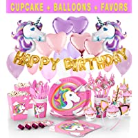 190+ Unicorn Party Supplies - Glittery Unicorn Headband | Disposable Tableware - Serves 10 | 30 Magical Balloons | 24 Pc Unicorn Cupcake Wrappers & Toppers | Party Favors